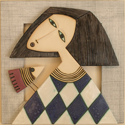 "Hemstitch wall panel ""Girl with bird"""