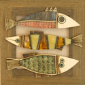 "Hemstitch wall panel ""Three fish"""