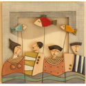 "Hemstitch wall panel ""People with fishes"""
