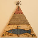 Triangle wall panel with a fish